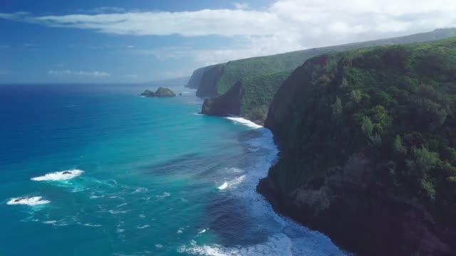 Aerial view of the Hawaiian coastline near Polulu valley on the Big Island Aerial view of the Hawaiian coastline near Polulu valley on the Big Island big island hawaii islands stock videos & royalty-free footage