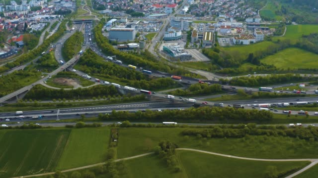 Aerial view of the Highway, Autobahn triangle Dreieck Leonberg video
