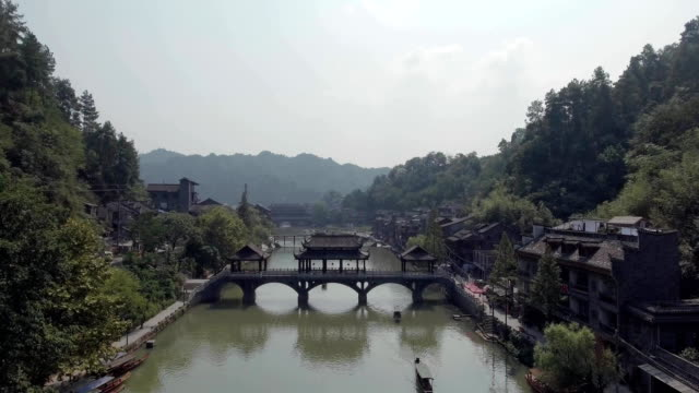 Aerial View of the Historic Center of Fenghuang City video