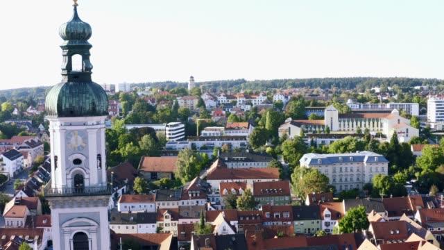 Luftaufnahme der Innenstadt von Freising, Bayern, Deutschland – Video
