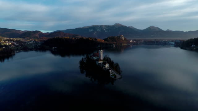 aerial view of the island on bled lake - ferragosto video stock e b–roll