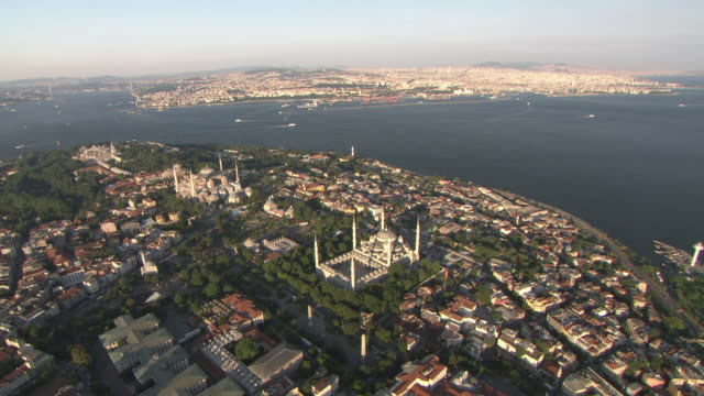 Aerial view of the Istanbul bosphorus and city video
