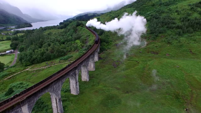Aerial view of the Jacobite crossing Glenfinnan Viaduct