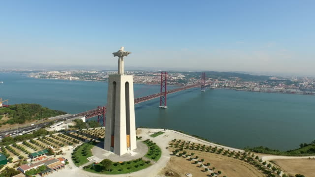 Aerial view of the Lisbon's landmarks Aerial view of the Lisbon's landmarks. ponte 25 de abril stock videos & royalty-free footage