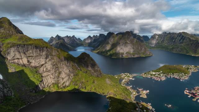 vídeos de stock e filmes b-roll de aerial view of the lofoten islands and the sea. - reine