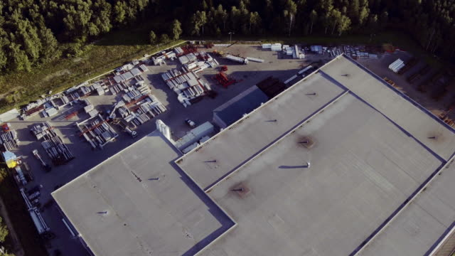 Aerial view of the logistics warehouse video