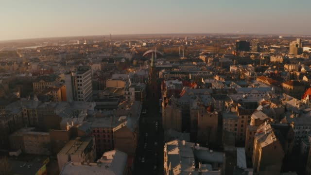 aerial view of the lutheran cathedral in riga - латвия стоковые видео и кадры b-roll