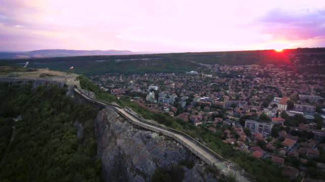 Aerial view of the medieval fortress Ovech near Provadia, Bulgaria, sunset shot video