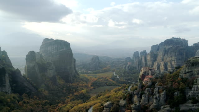 Aerial view of the Meteora rocky landscape and monasteries in Greece video
