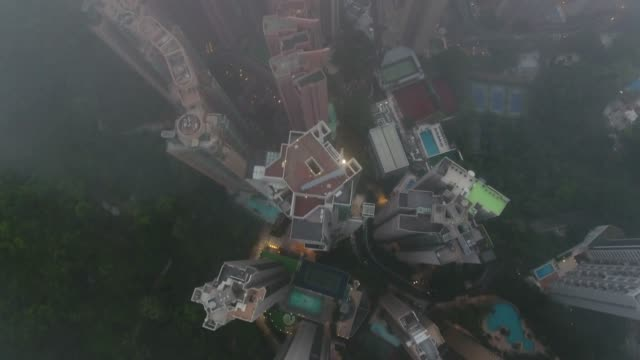 aerial view of the mist in hong kong city video