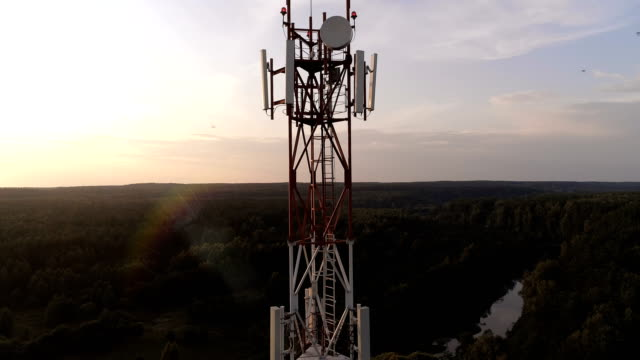 Aerial view of the mobile cellular telecom tower