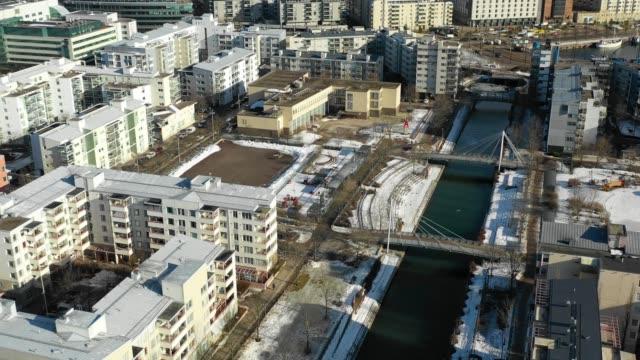 flygvy över det moderna stadsområdet - drone helsinki bildbanksvideor och videomaterial från bakom kulisserna