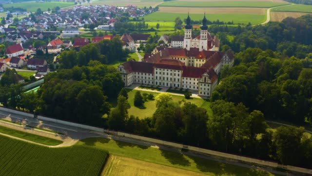 Aerial view of the monastery Obermarchtal in Germany. video