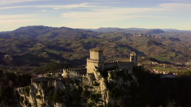 Aerial view of the Monte Titano/San Marino in San Marino during morning sunset.