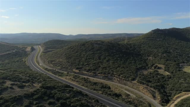 Aerial view of the mountains and the Egnatia Highway near Alexandroupolis, the northern Greek city of Thrace at summer video