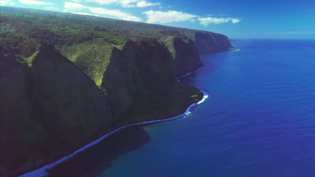 Aerial view of the northern coast of the Big Island Aerial view of the northern coast of the Big Island, Hawaii big island hawaii islands stock videos & royalty-free footage