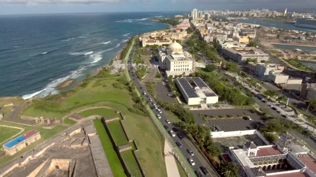 Aerial view of the ocean and the Capitol Building in San Juan, Puerto Rico video