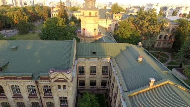 Luftaufnahme des alten Gebäudes der Universität KPI in Kiew, Ukraine. – Video