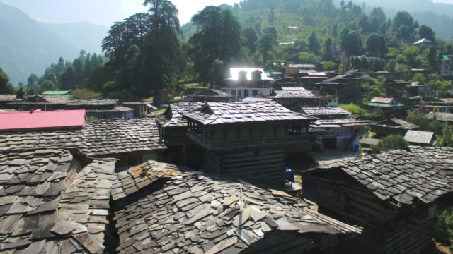 Aerial view of the old Manali village in Kullu valley, Himachal Pradesh, India. video