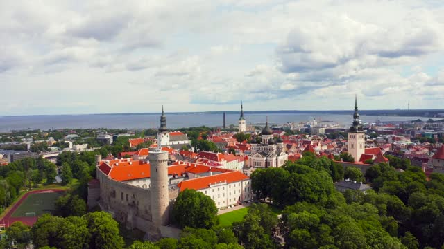 aerial view of the old town of tallinn aerial view of the old town of tallinn in Tallinn, Harju County, Estonia estonia stock videos & royalty-free footage