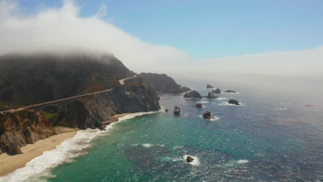 Aerial view of the Pacific Coast Highway Aerial view of the Pacific Coast Highway (Highway 1) at southern end of Big Sur, California. western usa stock videos & royalty-free footage