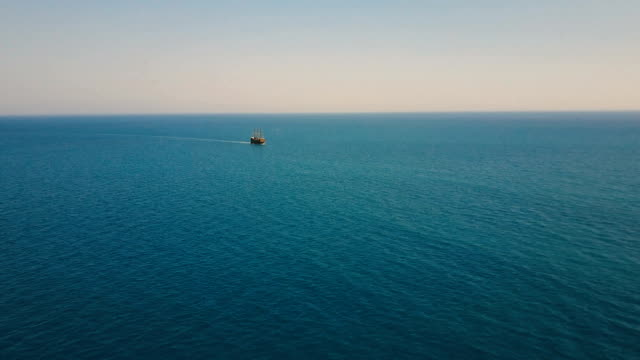 Aerial view of the party boat sailing ship at sea video