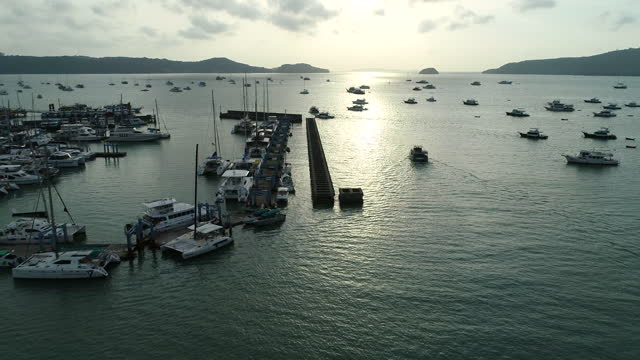 Aerial view of the Pattaya city with the tourist on the dock