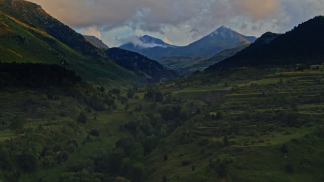 Aerial view of the Pyrenees mountain range at sunset