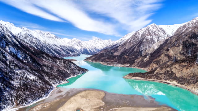 Aerial View Of The Ranwu Lake - Time Lapse Aerial View Of The Ranwu Lake - Time Lapse icecap stock videos & royalty-free footage