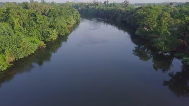 4K: Aerial view of the River Kwai, Kanchanaburi Province, Thailand