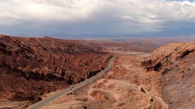 stockvideo's en b-roll-footage met luchtfoto van de weg naar san pedro de atacama in chili, zuid-amerika - maasvallei