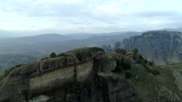 Aerial view of the rock formations near Meteora monasteries video