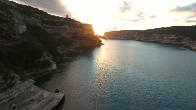 Aerial view of the rocks and sunset in the Bay of Bonifacio on the island of Corsica