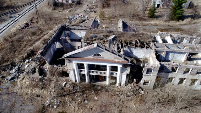 Aerial view of the ruined property in ukraine video