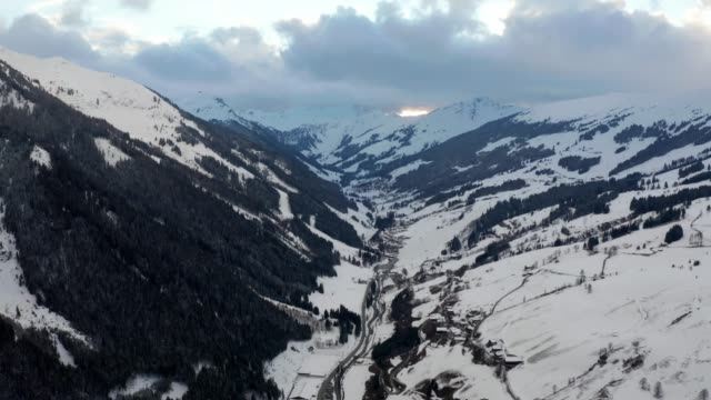 Aerial view of the Saalbach village in Alps.