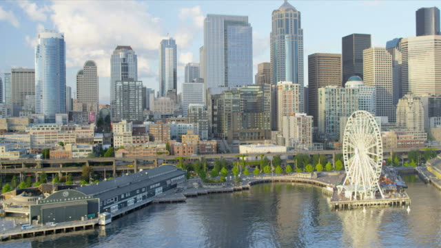 Aerial view of the Seattle Great Wheel a coastal Waterfront Park, USA video