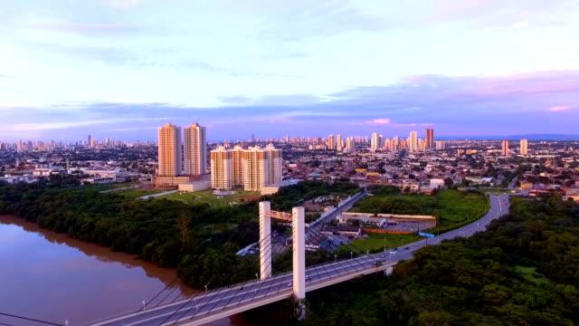 Aerial view of the Sergio Motta Bridge in Cuiaba, Mato Grosso, Brazil. video