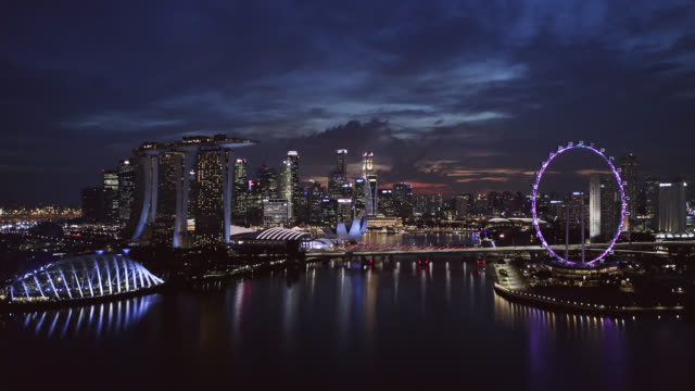 Aerial view of the Singapore landmark financial business district at twilight sunset Aerial view of the Singapore landmark financial business district at twilight sunset singapore architecture stock videos & royalty-free footage