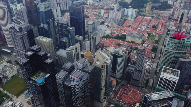 Aerial view of the Singapore landmark financial business district