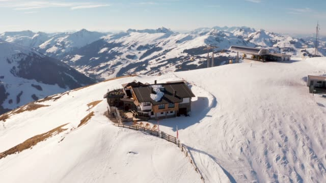 Aerial view of the ski resort in Austrian Alps
