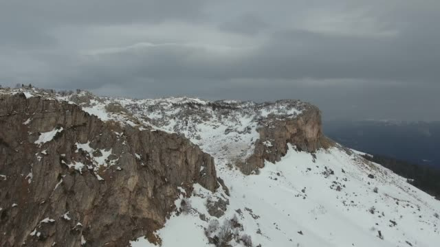Aerial view of the snow-covered rocks
