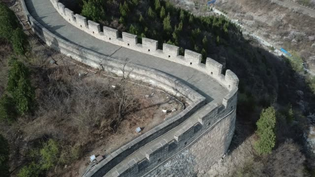 aerial view of the splendid landscape of juyongguan great wall, beijing, china - ming video stock e b–roll