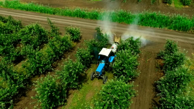 Aerial view of the Sprayer for Applying Fungicides in the Apple Orchard.Crop Protection video