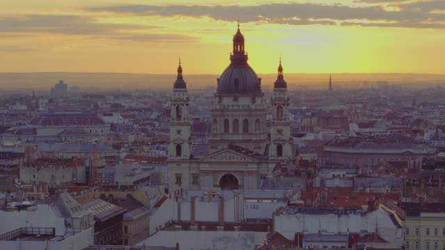 Aerial view of the St. Stephens Basilica Aerial view of downtown Budapest and the St. Stephens Basilica in sunrise hungary stock videos & royalty-free footage
