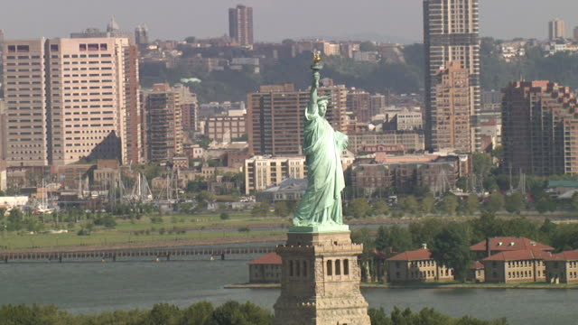 Aerial View of the Statue of Liberty in New York City, USA