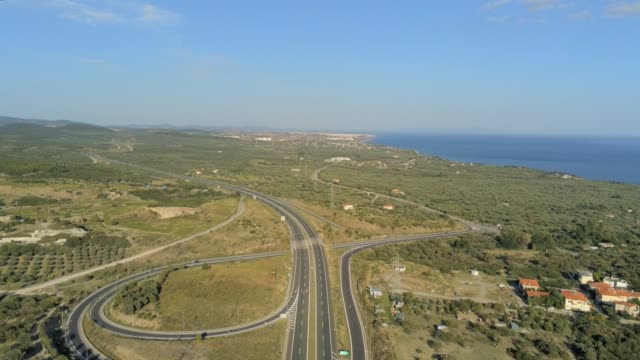 Aerial view of the suburbs, the highway and the coastline of the city of Alexandroupolis, the northern Greek city of Thrace at summer video