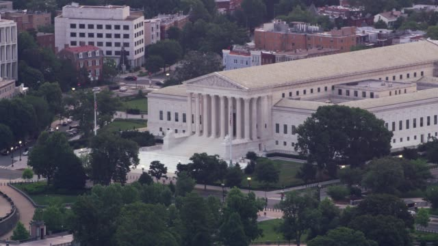 Aerial view of the Supreme Court and Capitol Building.