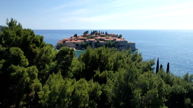 aerial view of the Sveti Stefan, small islet and resort in Montenegro video