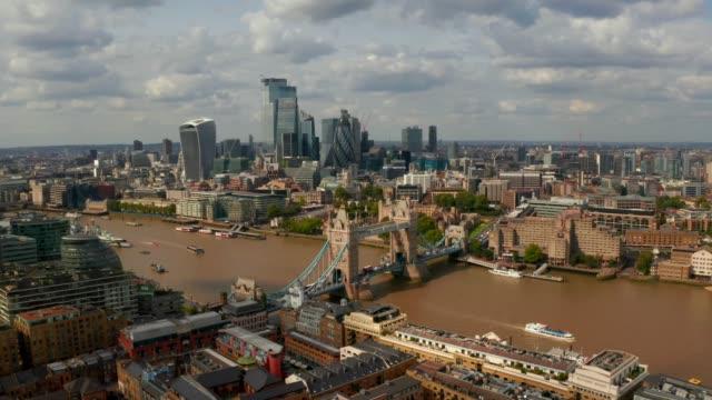 Aerial view of the Tower Bridge in London – film