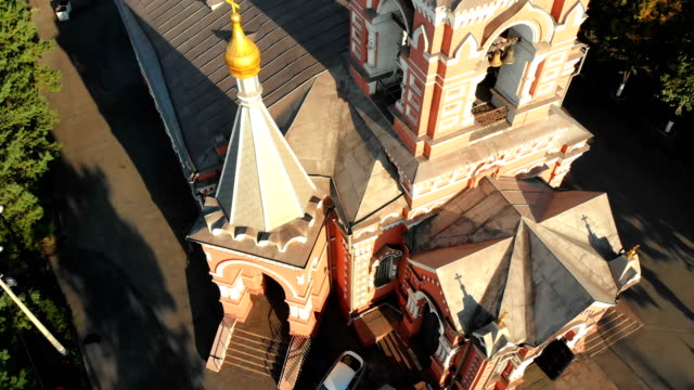 Aerial view of the Ukrainian Christian Church Located in gray Industrial City